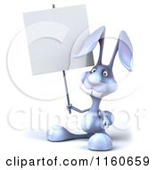 Clipart Of A 3d Bunny Rabbit Holding A Sign Royalty Free CGI Illustration