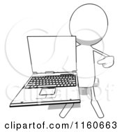 Cartoon Of A White Bob Charcater Holding A Laptop Computer 2 Royalty Free Illustration