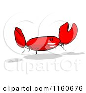 Cartoon Of A Happy Red Crab 4 Royalty Free Clipart