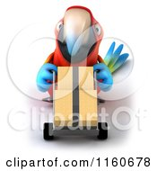 Clipart Of A 3d Macaw Parrot Pushing Boxes On A Dolly Royalty Free CGI Illustration