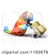 Clipart Of A 3d Macaw Parrot Pushing Boxes On A Dolly 2 Royalty Free CGI Illustration
