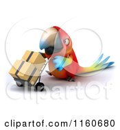 Clipart Of A 3d Macaw Parrot Pushing Boxes On A Dolly 3 Royalty Free CGI Illustration