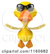 Clipart Of A 3d Yellow Duck Wearing Sunglasses And Flying Royalty Free CGI Illustration by Julos