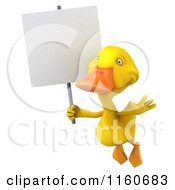 3d Yellow Duck Flying With A Sign