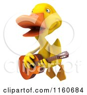 3d Yellow Duck Flying And Singing With A Guitar