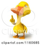 Clipart Of A 3d Yellow Duck Pointing Up Royalty Free CGI Illustration