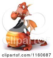 Clipart Of A 3d Red Business Dragon In A Suit Facing Left Royalty Free CGI Illustration