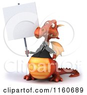Clipart Of A 3d Red Business Dragon Holding A Sign Royalty Free CGI Illustration