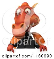 Clipart Of A 3d Red Business Dragon With A Sign Royalty Free CGI Illustration