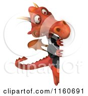 Clipart Of A 3d Red Business Dragon With A Sign 2 Royalty Free CGI Illustration