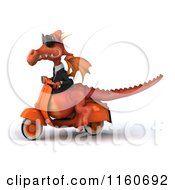 Clipart Of A 3d Red Business Dragon On A Scooter Royalty Free CGI Illustration