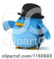 Clipart Of A 3d Pointing Bluebird With A Bowler Hat And Umbrella Royalty Free CGI Illustration
