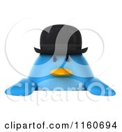 Clipart Of A 3d Bluebird With A Bowler Hat And Sign Royalty Free CGI Illustration