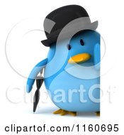 Clipart Of A 3d Bluebird With A Bowler Hat Umbrella And Sign Royalty Free CGI Illustration