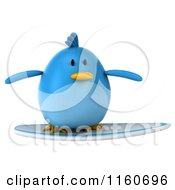 Clipart Of A 3d Bluebird Surfing Royalty Free CGI Illustration