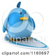 Clipart Of A 3d Bluebird Surfing 2 Royalty Free CGI Illustration