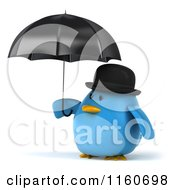 Clipart Of A 3d Bluebird With A Bowler Hat And Umbrella Royalty Free CGI Illustration