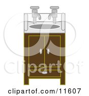 Bathroom Sink And Cabinet With Two Faucets Clipart Illustration