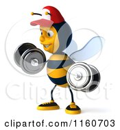 Clipart Of A 3d Bee Mascot Wearing A Hat And Lifting Weights 2 Royalty Free CGI Illustration