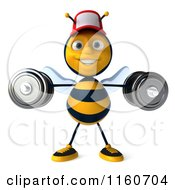 Clipart Of A 3d Bee Mascot Wearing A Hat And Lifting Weights 3 Royalty Free CGI Illustration
