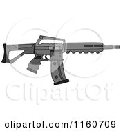 Cartoon Of A Black Semi Automatic Assault Rifle With A Clip Royalty Free Vector Clipart