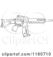Cartoon Of An Outlined Semi Automatic Assault Rifle With A Clip Royalty Free Vector Clipart