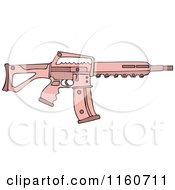 Cartoon Of A Pink Semi Automatic Assault Rifle With A Clip Royalty Free Vector Clipart