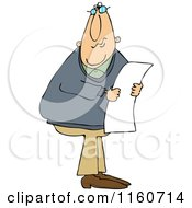 Cartoon Of A Caucasian Man Wearing Glasses And Reading A Long Document Royalty Free Vector Clipart by djart