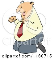 Cartoon Of A Caucasian Businessman Begging On His Knees Royalty Free Vector Clipart