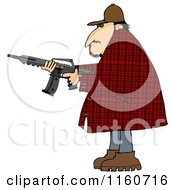 Cartoon Of A Man In A Plaid Jacket Holding A Semi Automatic Assault Rifle With A Clip Royalty Free Clipart
