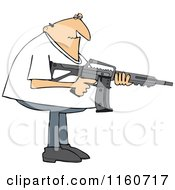Cartoon Of A Casual Man Holding A Semi Automatic Assault Rifle With A Clip Royalty Free Vector Clipart