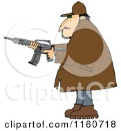 Cartoon Of A Man In A Brown Jacket Holding A Semi Automatic Assault Rifle With A Clip Royalty Free Vector Clipart