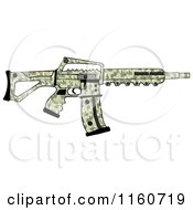 Cartoon Of A Camo Semi Automatic Assault Rifle With A Clip Royalty Free Clipart