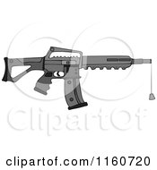 Cartoon Of A Black Semi Automatic Assault Rifle With A Clip And A Cork Royalty Free Vector Clipart