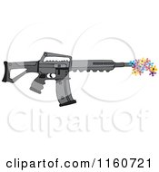 Cartoon Of A Black Semi Automatic Assault Rifle With A Clip Shooting Flowers Royalty Free Vector Clipart