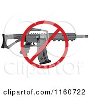 Cartoon Of A Black Semi Automatic Assault Rifle With A Clip And A Prohibited Symbol Royalty Free Vector Clipart