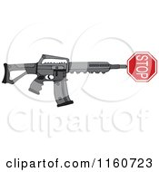 Cartoon Of A Black Semi Automatic Assault Rifle With A Stop Sign Royalty Free Vector Clipart