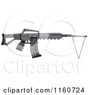 Cartoon Of A Black Semi Automatic Assault Rifle With A White Flag Royalty Free Vector Clipart