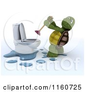 Clipart Of A 3d Tortoise Using A Plunger On A Toilet Royalty Free CGI Illustration
