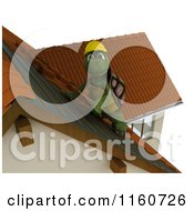Clipart Of A 3d Tortoise Roofer Contractor Working On Shingles Royalty Free CGI Illustration