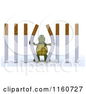 Clipart Of A 3d Tortoise Pushing Apart Cigarette Prison Bars Royalty Free CGI Illustration