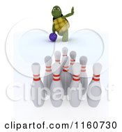 Clipart Of A 3d Tortoise Bowling With Pins In The Foreground Royalty Free CGI Illustration