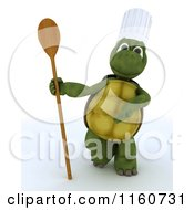 Clipart Of A 3d Tortoise Chef Holding A Wooden Spoon Royalty Free CGI Illustration by KJ Pargeter