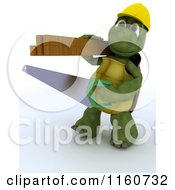 Clipart Of A 3d Tortoise Carpenter Carrying A Saw And Lumber Royalty Free CGI Illustration