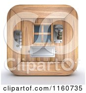 Clipart Of A 3d Wooden Door Icon Royalty Free CGI Illustration by KJ Pargeter