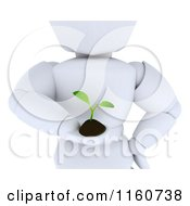 3d Cropped White Character Holding Out A Seedling Plant And Soil
