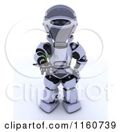 Clipart Of A 3d Robot Holding Out A Seedling Plant And Soil Royalty Free CGI Illustration