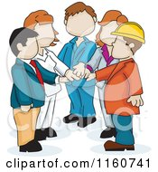 Cartoon Of A Faceless Business Team With Their Hands All In Royalty Free Vector Clipart