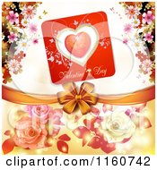 Clipart Of A Valentines Day Background With Roses Blossoms And A Bow Royalty Free Vector Illustration