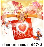 Clipart Of A Valentines Day Background With Roses Butterflies And A Bow Royalty Free Vector Illustration